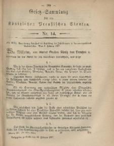 Gesetz-Sammlung für die Königlichen Preussischen Staaten, 22. Februar, 1867, nr. 14.