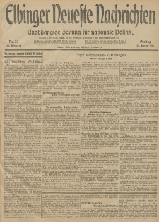 Elbinger Neueste Nachrichten, Nr. 22 Freitag 23 Januar 1914 66. Jahrgang