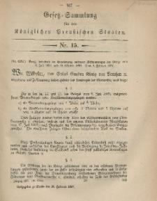 Gesetz-Sammlung für die Königlichen Preussischen Staaten, 26. Februar, 1867, nr. 15.
