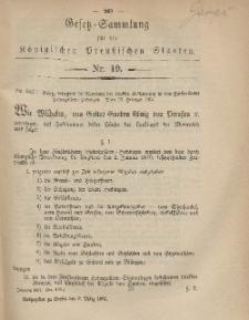 Gesetz-Sammlung für die Königlichen Preussischen Staaten, 9. März, 1867, nr. 19.
