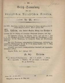 Gesetz-Sammlung für die Königlichen Preussischen Staaten, 18. März, 1867, nr. 21.