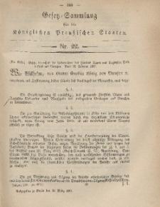 Gesetz-Sammlung für die Königlichen Preussischen Staaten, 19. März, 1867, nr. 22.
