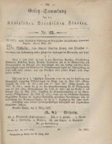 Gesetz-Sammlung für die Königlichen Preussischen Staaten, 23. März, 1867, nr. 23.