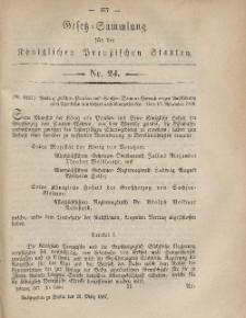 Gesetz-Sammlung für die Königlichen Preussischen Staaten, 26. März, 1867, nr. 24.
