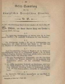 Gesetz-Sammlung für die Königlichen Preussischen Staaten, 9. April, 1867, nr. 27.