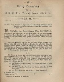 Gesetz-Sammlung für die Königlichen Preussischen Staaten, 24. April, 1867, nr. 31.