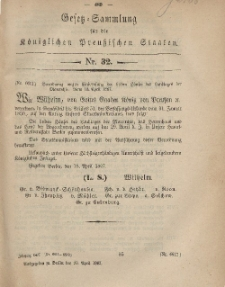 Gesetz-Sammlung für die Königlichen Preussischen Staaten, 20. April, 1867, nr. 32.