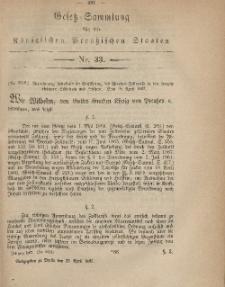 Gesetz-Sammlung für die Königlichen Preussischen Staaten, 23. April, 1867, nr. 33.