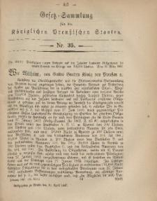 Gesetz-Sammlung für die Königlichen Preussischen Staaten, 30. April, 1867, nr. 35.