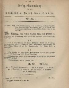 Gesetz-Sammlung für die Königlichen Preussischen Staaten, 6. Mai, 1867, nr.37.