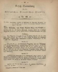 Gesetz-Sammlung für die Königlichen Preussischen Staaten, 15. Mai, 1867, nr.40.