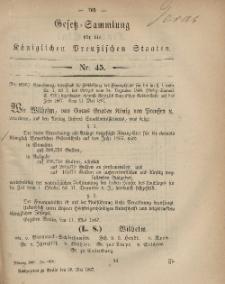 Gesetz-Sammlung für die Königlichen Preussischen Staaten, 29. Mai, 1867, nr.45.