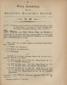 Gesetz-Sammlung für die Königlichen Preussischen Staaten, 7. Juni, 1867, nr.49.