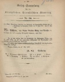 Gesetz-Sammlung für die Königlichen Preussischen Staaten, 17. Juni, 1867, nr.54.