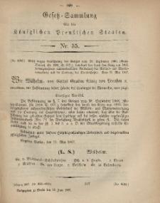 Gesetz-Sammlung für die Königlichen Preussischen Staaten, 18. Juni, 1867, nr.55.