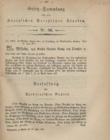 Gesetz-Sammlung für die Königlichen Preussischen Staaten, 25. Juni, 1867, nr.56.