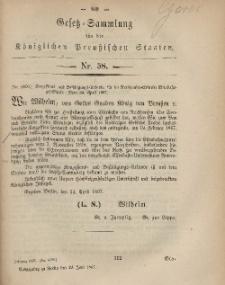 Gesetz-Sammlung für die Königlichen Preussischen Staaten, 29. Juni, 1867, nr.58.