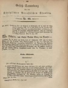 Gesetz-Sammlung für die Königlichen Preussischen Staaten, 5. Juli, 1867, nr.60.