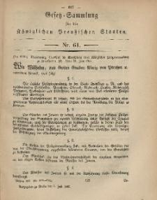 Gesetz-Sammlung für die Königlichen Preussischen Staaten, 5. Juli, 1867, nr.61.