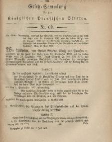 Gesetz-Sammlung für die Königlichen Preussischen Staaten, 15. Juli, 1867, nr.62.