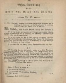 Gesetz-Sammlung für die Königlichen Preussischen Staaten, 20. Juli, 1867, nr.65.