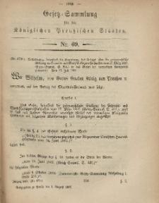 Gesetz-Sammlung für die Königlichen Preussischen Staaten, 1. August, 1867, nr.69.