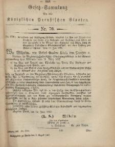 Gesetz-Sammlung für die Königlichen Preussischen Staaten, 3. August, 1867, nr.70.