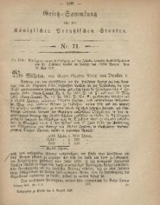 Gesetz-Sammlung für die Königlichen Preussischen Staaten, 5. August, 1867, nr.71.