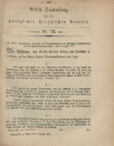 Gesetz-Sammlung für die Königlichen Preussischen Staaten, 9. August, 1867, nr.72.