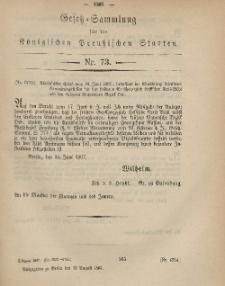 Gesetz-Sammlung für die Königlichen Preussischen Staaten, 12. August, 1867, nr.73.