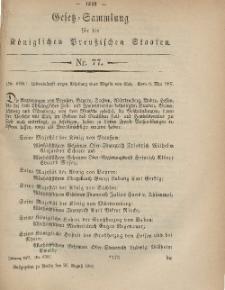 Gesetz-Sammlung für die Königlichen Preussischen Staaten, 20. August, 1867, nr.77.