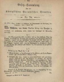 Gesetz-Sammlung für die Königlichen Preussischen Staaten, 20. August, 1867, nr.78.