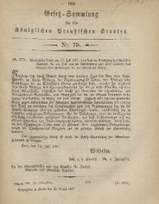 Gesetz-Sammlung für die Königlichen Preussischen Staaten, 22. August, 1867, nr.79.