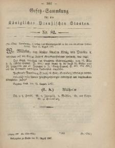 Gesetz-Sammlung für die Königlichen Preussischen Staaten, 29. August, 1867, nr.82.
