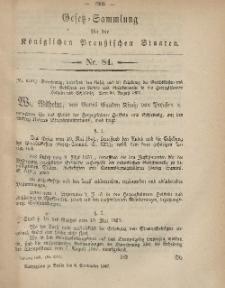 Gesetz-Sammlung für die Königlichen Preussischen Staaten, 5. September, 1867, nr.84.