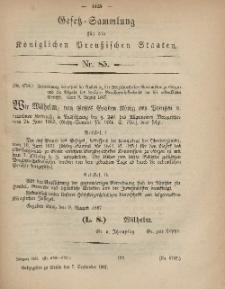 Gesetz-Sammlung für die Königlichen Preussischen Staaten, 7. September, 1867, nr.85.