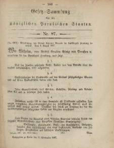 Gesetz-Sammlung für die Königlichen Preussischen Staaten, 10. September, 1867, nr.87.