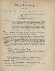 Gesetz-Sammlung für die Königlichen Preussischen Staaten, 11. September, 1867, nr.88.