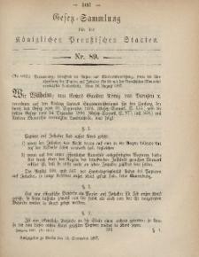Gesetz-Sammlung für die Königlichen Preussischen Staaten, 12. September, 1867, nr.89.