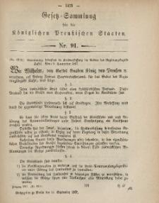 Gesetz-Sammlung für die Königlichen Preussischen Staaten, 14. September, 1867, nr.91.
