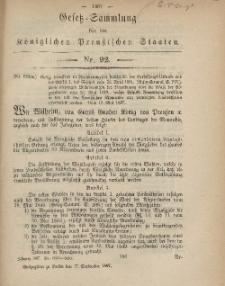 Gesetz-Sammlung für die Königlichen Preussischen Staaten, 17. September, 1867, nr.92.