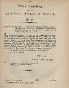 Gesetz-Sammlung für die Königlichen Preussischen Staaten, 21. September, 1867, nr.95.