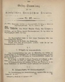 Gesetz-Sammlung für die Königlichen Preussischen Staaten, 23. September, 1867, nr.97.