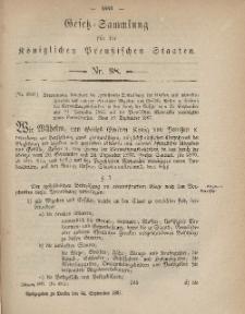 Gesetz-Sammlung für die Königlichen Preussischen Staaten, 24. September, 1867, nr.98.