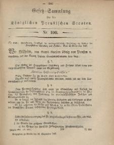 Gesetz-Sammlung für die Königlichen Preussischen Staaten, 26. September, 1867, nr.100.