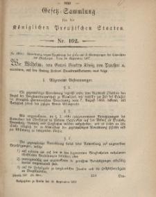 Gesetz-Sammlung für die Königlichen Preussischen Staaten, 28. September, 1867, nr.102.