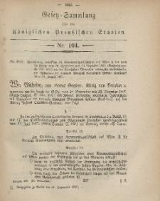 Gesetz-Sammlung für die Königlichen Preussischen Staaten, 30. September, 1867, nr.104.