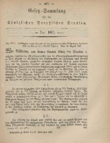 Gesetz-Sammlung für die Königlichen Preussischen Staaten, 30. September, 1867, nr.107.