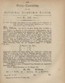 Gesetz-Sammlung für die Königlichen Preussischen Staaten, 12. Oktober, 1867, nr.111.