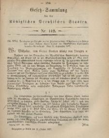 Gesetz-Sammlung für die Königlichen Preussischen Staaten, 16. Oktober, 1867, nr.112.